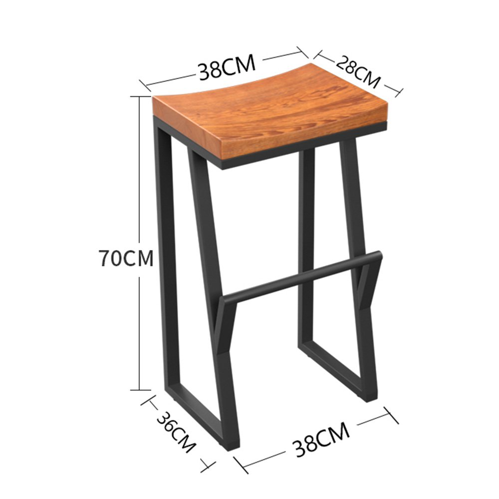 70CM GJM Shop Bar Stool Retro Industrial Style Iron + Wood Cafe Chair Breakfast Stool Easy to Move (Size   70CM)