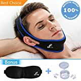 PREMIUM Stop Snoring Chin Strap Device & 4 Nose Vents to Easy Breathing + Adjustable 3D Contoured Sleep Mask – Anti Snoring Solution - Snore Jaw Strap - For a silent sleep and restful night