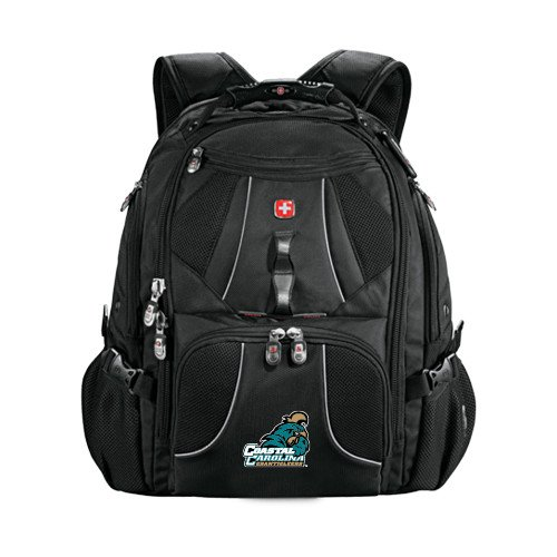 Coastal Carolina Wenger Swiss Army Mega Black Compu Backpack 'Official Logo' by CollegeFanGear