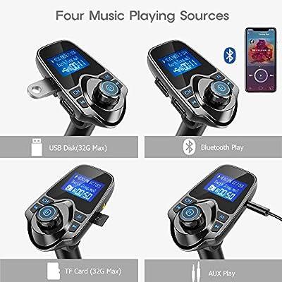 Nulaxy Bluetooth Car FM Transmitter Audio Adapter Receiver Wireless Handsfree Voltmeter Car Kit TF Card AUX USB 1.44 Display - KM19 Black