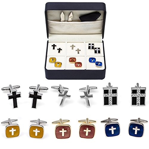 (MRCUFF Cross Crosses 6 Christian Different Pairs Cufflinks with a Presentation Gift Box ...)