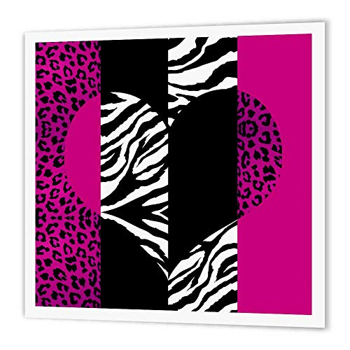 (3dRose ht_35437_3 Pink Black and White Animal Print-Leopard and Zebra Heart-Iron on Heat Transfer for Material, 10 by 10-Inch, White)