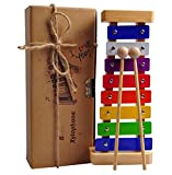 Xylophone Toy for Kids: Best Glockenspiel for your Mini Musicians; Educational Percussion Instrument with Bright Multi-Colored Bars and Child-Safe Wooden Mallets; Perfectly 8 Toned Musical Gift for Toddlers