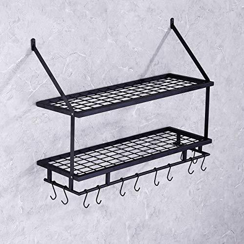 KES 30-Inch Kitchen Pan Pot Rack Wall Mounted Hanging Storage Organizer 2-Tire Wall Shelf with 12 Hooks Matte Black, KUR215S75B-BK by Kes (Image #4)