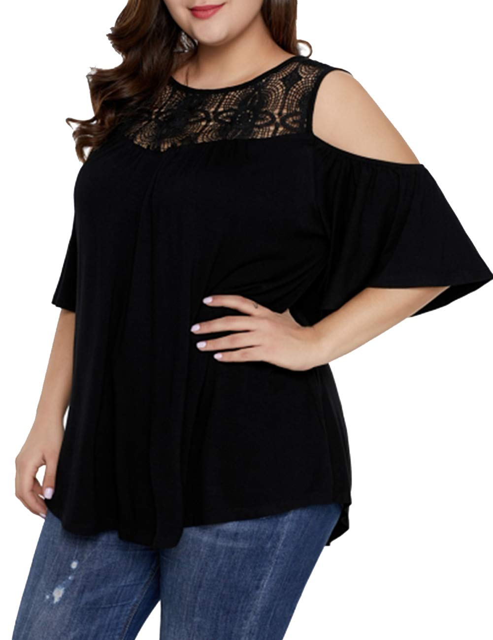 DIOLOCA Lace Top for Women Plus Size Cold Shoulder Tunic Tops Casual Swing Shirts Summer Solid Color Black 3X