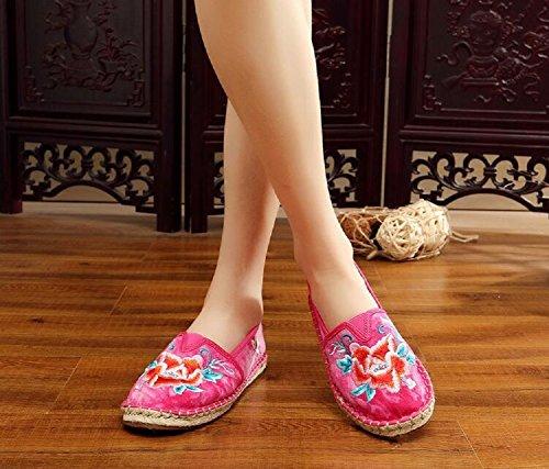 Kinesisk Uformell Loafer Vintage Røde Lazutom Dame Broderi Stil Gang Kvinner Sko tx4OBwqOU