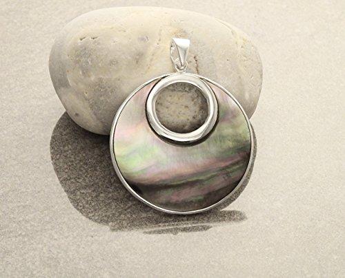 Paua Shell Mop - Gray, Paua Shell, Silver, Pendant, Sterling Silver, Grey Shell, Grey MOP, Elegant,Design, Women, Gift, Ideas, Xmas, Fast Shipping.