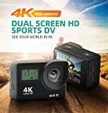 Ocamo Action Camera, 1080P Front Rear Dual Screen Action Camera Wide-Angle Waterproof Sports Camera