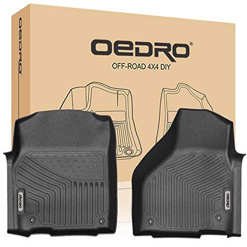 oEdRo Front Floor Mats Liners Compatible for 2013-2018 Dodge Ram 1500 Quad/Regular Cab - Unique Black TPE All-Weather Guard, 1st Row Driver/Passenger