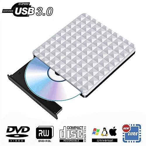 External CD DVD Drive USB 3.0,Portable Optical CD Drives DVD-RW Rewriter Burner Writer for PC Desktop/Laptop/Windows/Linux/Mac OS/Chromebook (Silver)