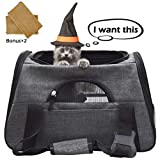 CACA Pet Carrier Soft-Sided Airline Approved, Cat Travel Bag with Side Pocket for Small Dogs&Cats Foldable with Mats, Portable Case for Puppies, Kittens