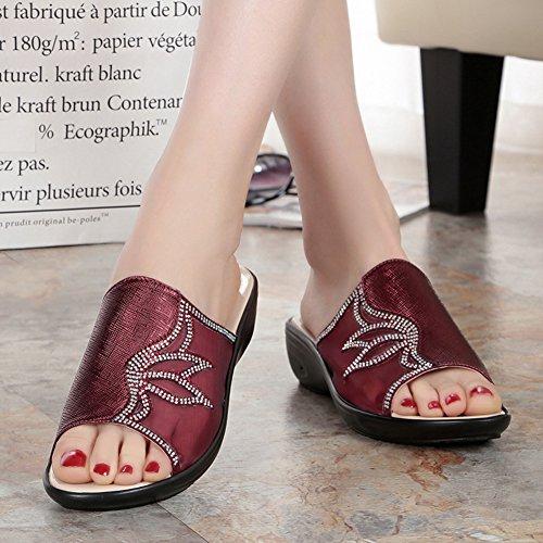 Btrada Womens Comfortable Wedge Sandals Summer Anti-Slip Thick Bottom Slide Shoes Red WDRNdlG
