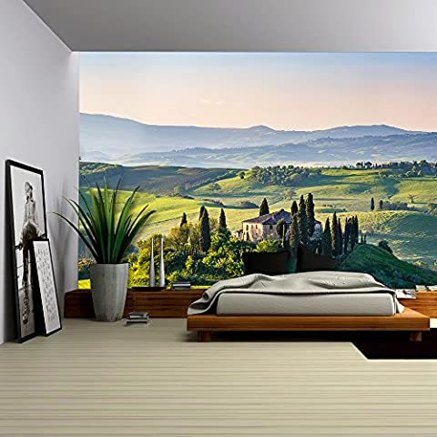 wall26 - Beautiful Spring Landscape in Tuscany, Italy - Removable Wall Mural | Self-adhesive Large Wallpaper - 100x144 (Tuscany Mural)