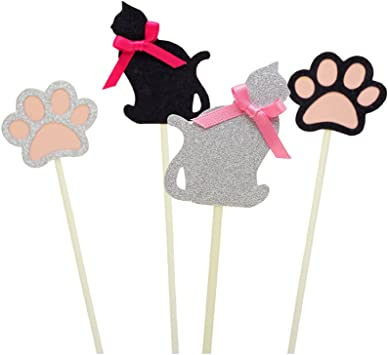 Amazon Com Oulii Shiny Cat Paw Fun Cake Toppers Cupcake Picks