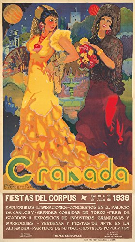 Granada (artist: Reyes) Spain c. 1936 - Vintage Advertisement (24x36 SIGNED Print Master Giclee Print w/ Certificate of Authenticity - Wall Decor Travel Poster) by Lantern Press