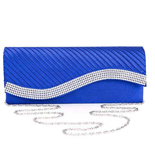 Chichitop Womens Satin Pleated Clutch Bag Wedding Bridal Prom Evening Handbag with Rhinestones (Royal Blue) (Blue Royal Bag Velvet)