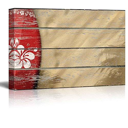 Red Surfboard with Hawaiian Flowers Wall Decor