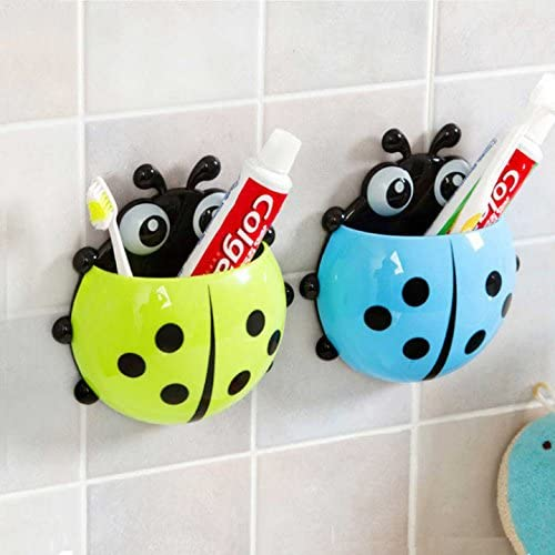 Cute Ladybug Bathroom Toothbrush Wall Mount Holder Sucker Suction Cups Organizer