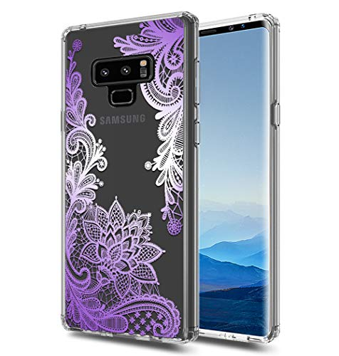 (Galaxy Note 9 Case, Note 9 case, Huness TPU Grip Bumper and Clear Flower Transparent Hard PC Backplate Hybrid Slim Phone Case Cover for Samsung Galaxy Note 9 Phone Case(6.4