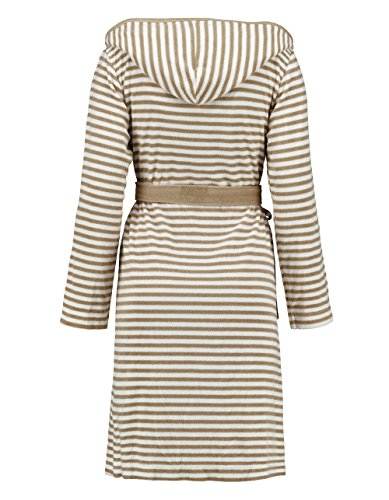 ESPRIT - Albornoz a rayas con capucha, color mocca, algodón rizado, marrón, large