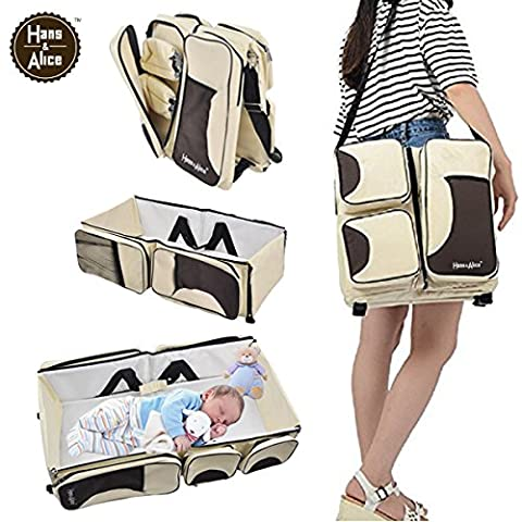 3 in 1 Convertible Diaper Bag, Infant Baby Changing Pad & Travel Bassinet, Crib, Cream - 3 Drawer Combo Changer
