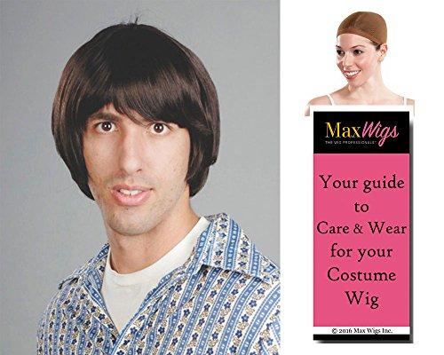 Blonde Hippie Costumes Wig (Hippie Boy Beatle Color Black - Enigma Wigs Bowl Cut Skater Tony Hawk Beetle Men's Bundle with Wig Cap, MaxWigs Costume Wig Care Guide)