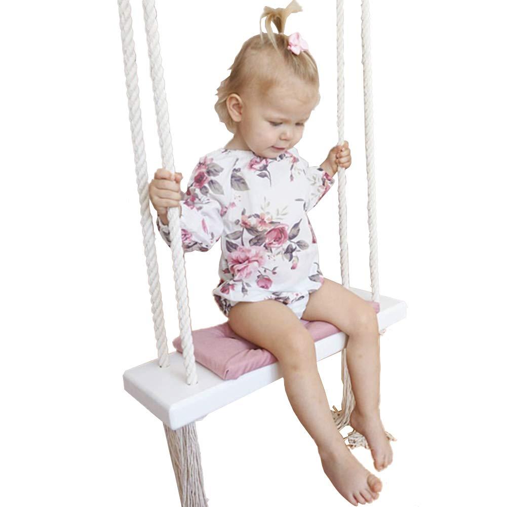子供スイング、子供の部屋の装飾バスケット吊り屋内ソリッドウッドクリエイティブヘンプローププレイグラウンドレジャーハウススイング (色 : A) B07H2HGMS6 A