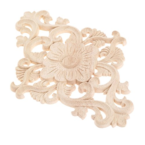 MUXSAM 2pcs Unpainted Wood Carved Corner Onlay Applique Frame Furniture Home Decor 27x14cm
