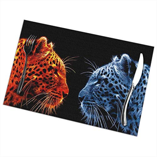 Placemats for Dining Table, Heat Insulation Stain Resistant Table Mat Set of 6 Non Slip Washable Tray Mat Durable Place Mats for Kitchen Dining Room Table Decoration - Fire and Ice Tiger]()
