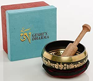 """Tibetan Singing Bowl Set by Geshe's Dharma, Daily Meditation for Healing Relaxation Therapy ~ Reduce Stress, Resonance Music help how to Meditate for a Transcendental Peaceful Mind, Hand Painted 4""""."""