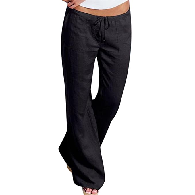 8d6585d344 Youthny Women's Casual Loose Cotton Linen High Waist Drawstring Beach Solid  Color Trousers Black