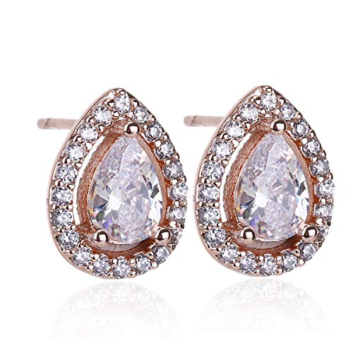 (Women Cubic Zirconia Stud Earrings - 14k Rose Gold Plated Vintage Pear Shaped CZ Crystal Rhinestone Small Halo Stud Earrings for Wedding Party Prom Girls by AMYJANE)