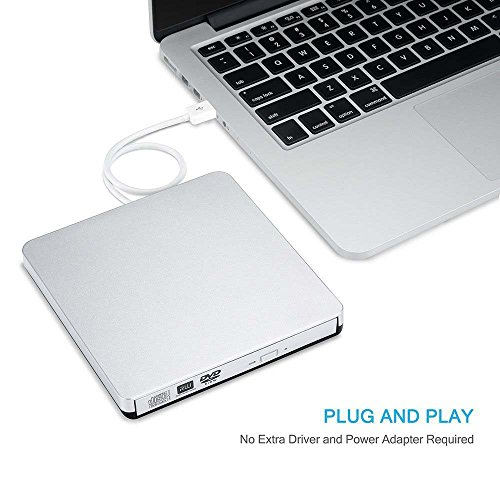 Ploveyy Latest USB 2.0 alloy Ultra Slim Portable DVD Rewriter Burner,External DVD Drive Optical Drive CD+/-RW DVD +/-RW Superdrive for Apple Mac Macbook Pro and laptop (Silver) by Ploveyy
