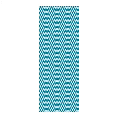 3D Decorative Film Privacy Window Film No Glue,Chevron,Zigzags in Sea Colors Ocean Waves Nautical Theme Sailboat Decor Sea Breeze,Teal Light Blue,for Home&Office