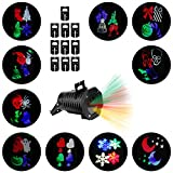 Christmas Lights Projector – Multicolor Rotating Led Christmas Shower lights, 10PCS Pattern Waterproof Lens Christmas Projector Lights Outdoor / Indoor for Celebration, Garden Decorations and more