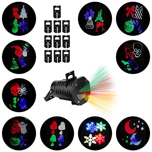 Christmas Lights Projector - Multicolor Rotating Led Christmas Shower Lights, 10PCS Pattern Waterproof Lens Christmas Projector Lights Outdoor/Indoor for Celebration, Garden Decorations and More]()