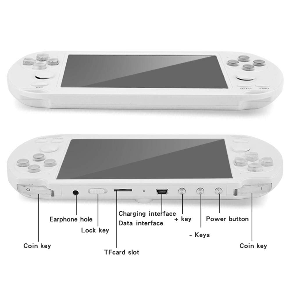X9-S Portable Game Player - 8GB 8/16/32/64/128Bit Video MP3 Player - 5.1Inch Double Rocker Handheld Retro Game Console for Kids Adults Gaming Battle by Yunhigh (Image #6)