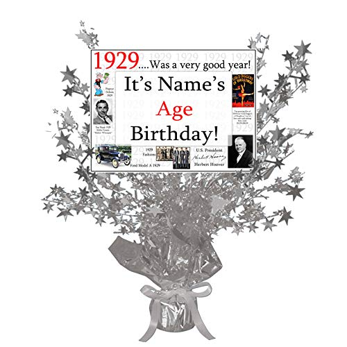 1929-90th Birthday Customized Silver Star Centerpiece (Each) by Partypro ()