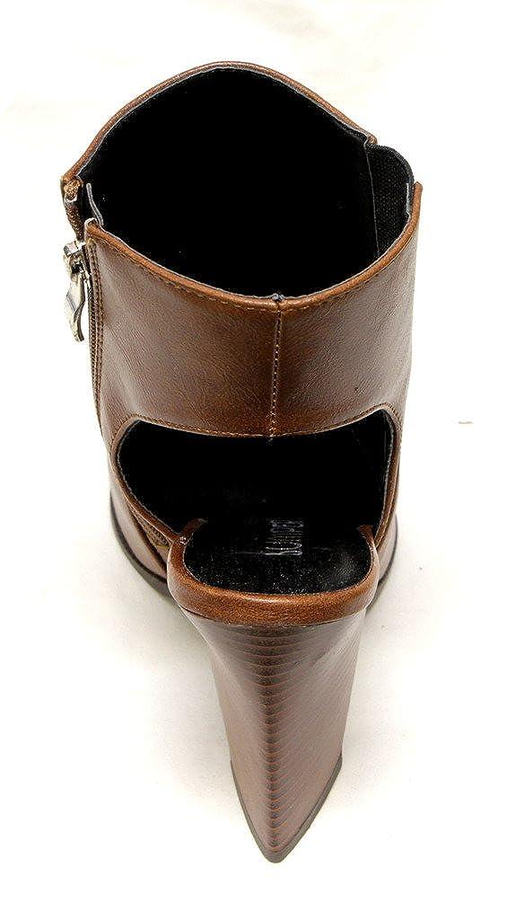 Bumper Odin-01 Womens Triangle Chunky Heel Slingback Pointed Toe Side Zipper Elastic high top Pumps