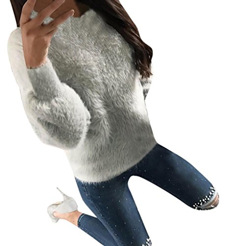 TAORE Womens Casual Velvet Long Sleeve Jumper Knit Sweater Pullover Blouse Tops (US 8, Gray) (Camisole Pullover Top)