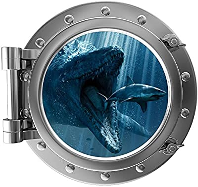 "12"" Port Scape Instant Sea Window View Dinosaur Mosasaurus Porthole Wall Decal Graphic Sticker Mural Home Kids Game Room Art Decor"