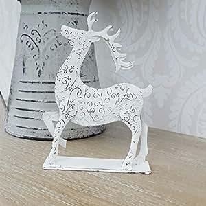 Un blanco adorno independiente de reno de Navidad decoración Shabby Chic casa–una gran adición A su Hogar.