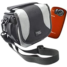 DURAGADGET Black Carry Case With Shoulder Strap Compatible With Kodak PlaySport Zx5 & PLAYFULL Video Camera