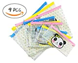 Set of 9 PVC Transparent Cute Animal Pattern Mesh Zipper Document Bag Fish Panda Deer Pattern File Folder Holders for Office School Stationery Supply Cosmetics Travel Storage
