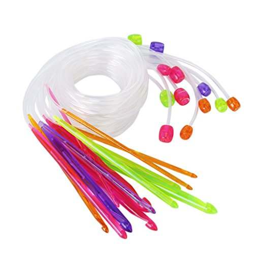 Crochet Needle - TOOGOO1 Set of 12 pieces Colorful Plastic R