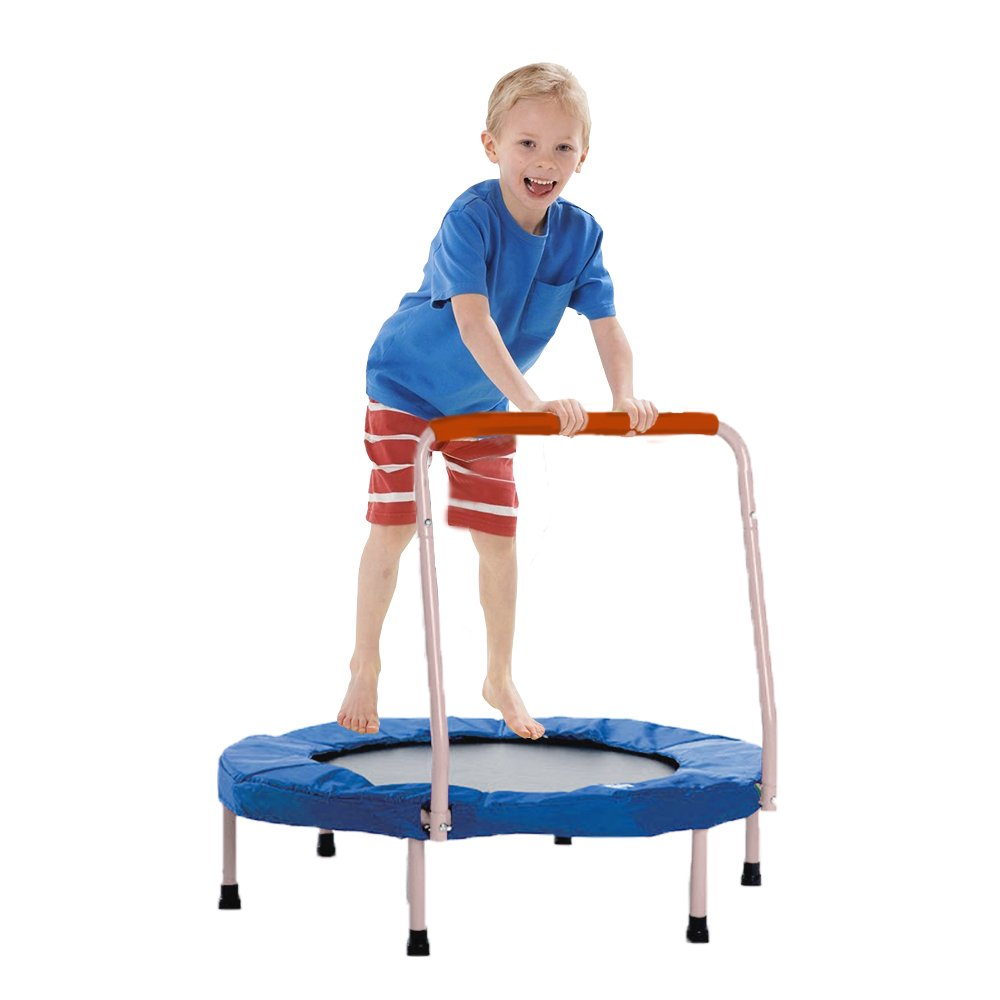 Toy Cubby Trampoline Fold able Junior Jumping Trampoline with Silver Safety Handles Exercise | Holiday Fun... and Much More