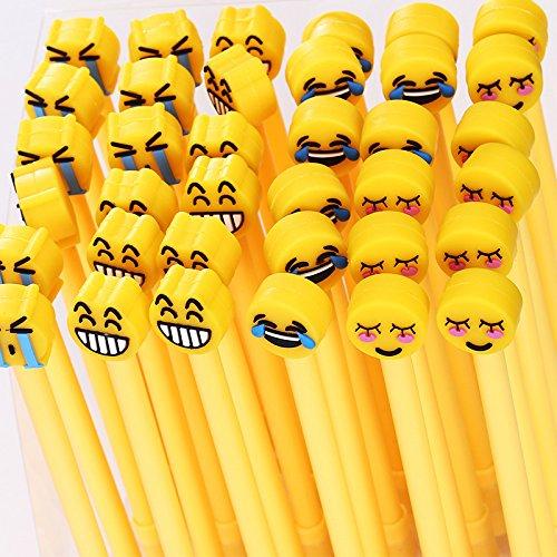 12Pièces Stylo neutre noire stylos roller à encre gel Emoji