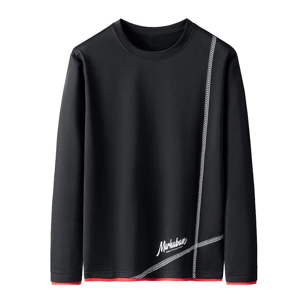 QIBOOG Men Crewneck Sweatshirt Long Sleeve Letter Printed Pullover Hoodie Warm Winter Top Tee Outwear Blouse(Black,XXXL) by QIBOOG