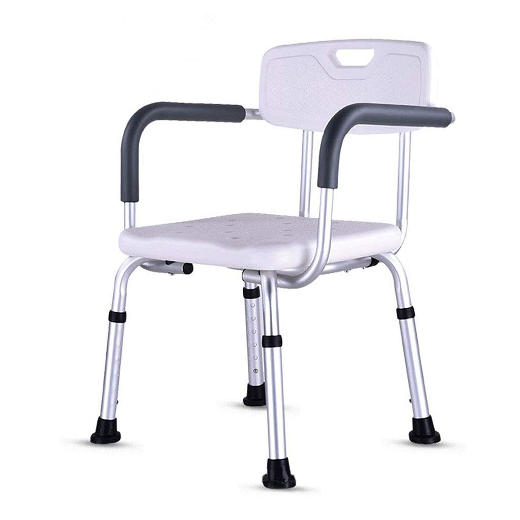 バスルームシャワーチェア シャワースツール 高齢者、障害者、障害者のための手すりと背もたれの入浴援助で調節可能な椅子の座席椅子の光の高さ   B07LGY8JL1