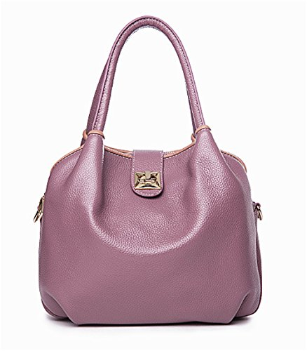 Bolsos de cuero Xinmaoyuan Mujer señoras bolso de hombro bolsa de cuero paquete diagonal Púrpura claro